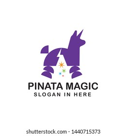 unicorn pinata with magic hat with negative space style inside
