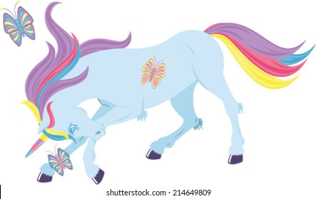Unicorn Playing With Butterflies