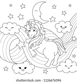 Unicorn playing with rainbow path for design element and coloring book page. Vector illustration