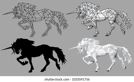 Unicorn polygon with bowed head on the grey background. Four versions of the silhouette of a unicorn.