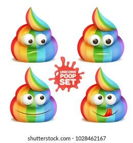 Unicorn poop emoji cartoon character stickers set. Vector illustration.