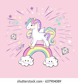 unicorn pop art on the pink background
