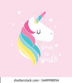 Unicorn print design with slogan. Vector illustration design for fashion fabrics, textile graphics, prints.