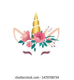 Unicorn print, flower post card, Magic poster