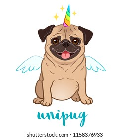 Unicorn pug dog with horn and wings vector cartoon illustration. Cute funny chubby unipug puppy smiling with tongue out, isolated on white. Humorous, magic, mythical creatures, believe in yourself.