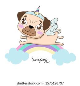 Unicorn pug laying on the rainbow. Unipug drawing vector illustration.