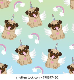 Unicorn Pug Seamless Pattern