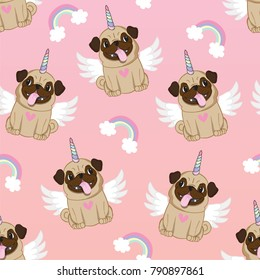 Unicorn pug seamless pattern pink