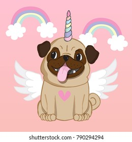 Unicorn Pug with wings