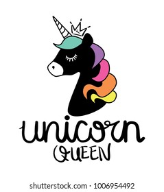 Unicorn queen calligraphy and unicorn drawing with crown / Textile graphic t shirt print / Vector illustration design