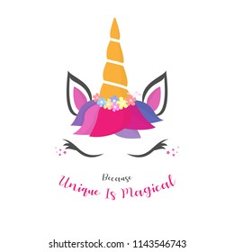 Unicorn Quote Illustration with Feminine Concept, Use for Fashion Fabric Design, Vector Eps 10