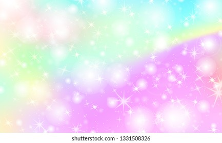 Unicorn rainbow background. Kawaii colorful backdrop with rainbow mesh. Holographic sky in pastel color. Bright mermaid pattern in princess colors. Vector illustration.