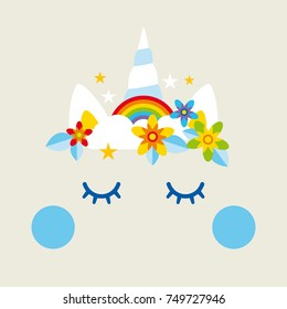 Unicorn with rainbow, clouds, stars and flowers, cake decoration, background, party invitation