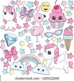 Unicorn Rainbow Cupcake Element set