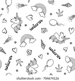 Unicorn, rainbow and hearts seamless pattern hand drawing black outline isolated on white background