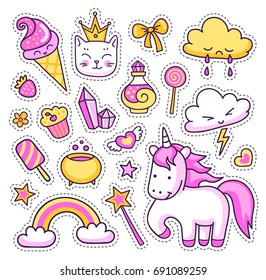 Unicorn, rainbow, magic elements, stars, clouds, cat, ice cream, sweets, hearts on white background. Set of cute cartoon stickers, patches, badges, pins. Doodle, hand drawn style. Vector illustration.