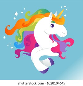 Unicorn with rainbow mane on blue background