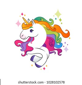 Unicorn with rainbow mane on white background