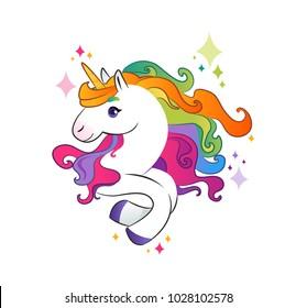 Unicorn with rainbow mane on white background