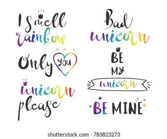 Unicorn rainbow quotes. Hand drawn lettering. Vector illustration