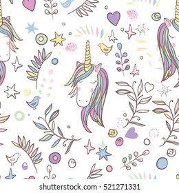 Unicorn Rainbow seamless pattern - girls scrapbook paper. Perfect for wrapping presents, scrapbook pages, cards, party decorations, book/journal cover, product design, apparel, planners, invitations