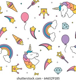 Unicorn and rainbow seamless pattern isolated on white background