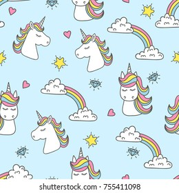 Unicorn and rainbow seamless pattern. Vector background.