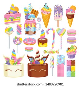 Unicorn rainbow sweets set. Assorted candies, cookies and cakes. Cute kids style food.