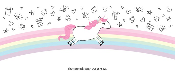 Unicorn Rainbow Vector Illustration Birthday Invitation Topper