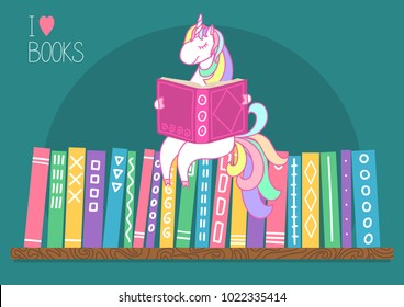 Unicorn reading book on bookshelf. I love books. Different color books with hand drawn ornament on shelf on teal background. Unicorn sitting on books. Vector illustration.