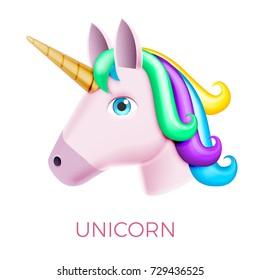 Unicorn Realistic Vector Icon Isolated on White. Head Portrait Horse Sticker, Patch Badge, Emoji. Cute Magic Cartoon Fantasy Cute Animal. Rainbow Hair. Dream Symbol. Design for kids