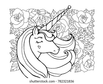Unicorn, rose flower, floral pattern. Magical animal. Vector artwork. Black and white. Coloring book page for adult, kid. Zentangle Illustration. Boho, bohemian. Fairy tale concept, amazing wonderland