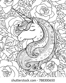 Unicorn and rose flowers. Vector artwork. Black and white. Coloring book pages for adults and kids. Funny character. Zentangle Illustration. Boho, bohemian. Fairy tale concept, amazing wonderland