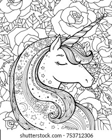 Unicorn and rose pattern. Magical animal. Vector artwork. Black and white. Coloring book page for adults and kids. Love bohemian concept for wedding invitation card, branding, boutique logo, label.