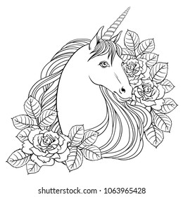 Unicorn and roses, hand drawn vector linen illustration for logotype, coloring book, greeting card.