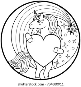 Unicorn Round Print