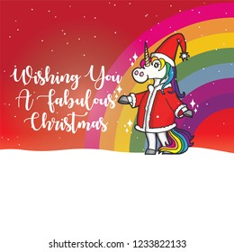 UNICORN SANTA CLAUS Greetings Card with snowfall and rainbow