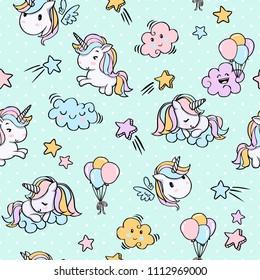 Unicorn Seamless Pattern for Tshirt Graphic Vector Print