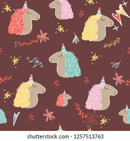 Unicorn seamless pattern. Unicorns with rainbow horn and mane on red background with flower. Vector illustration. Cute magic fantasy wallpaper with white unicorn head. template for cover fabric, books