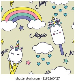 Unicorn seamless pattern.Unicorn ice cream,rainbow,clouds vector print.Cute repeat pattern for kids.Vector illustration design for fashion fabrics, textile graphics, prints, wallpapers and other uses.