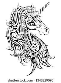 Unicorn shape made with polynesian style ornaments. Good for print designs