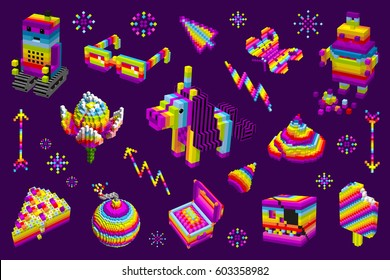 Unicorn shit, robots, ice cream. A set of elements. Digital, cubes 3D pixel art style, rainbow violet vector