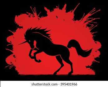 Unicorn silhouette designed on splash blood background graphic vector.
