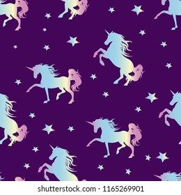 Unicorn silhouette seamless vector pattern. Holographic magic unicorn with star . pattern for girls.Creative  background for textile, prints, paper products, the Web.