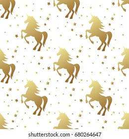 Unicorn silhouette seamless vector pattern. Golden magic unicorn with star on white background. Fairy horse pattern.