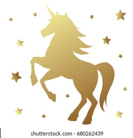 Unicorn silhouette vector illustration. Golden magic unicorn with star on white background. Fairy horse animal.