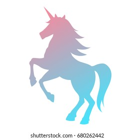 Unicorn silhouette vector illustration. Pink blue magic unicorn on white background. Fairy horse animal.