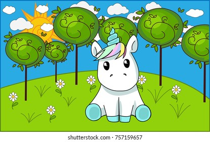 The unicorn sits in a meadow among the trees.