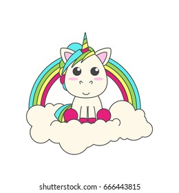The unicorn sits on a cloud. Behind him is a rainbow. flat vector illustration for print