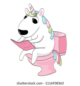 The unicorn sits on the toilet and reads the book. Vector illustration. Without background